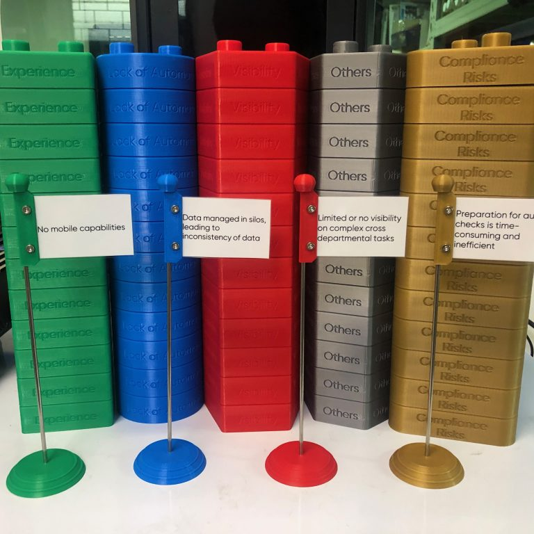 Oversized FDM 3D printed stackable bricks with text in green, blue, red, grey and gold materials with accompanying card stands